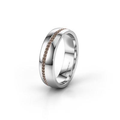 Trouwring WH0109L25A 925 zilver bruine diamant ±5x1.7 mm