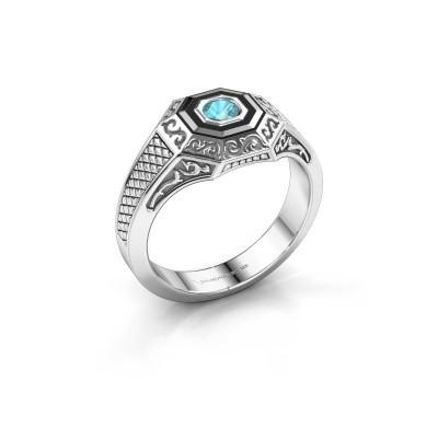 Foto van Heren ring Dion 375 witgoud blauw topaas 4 mm