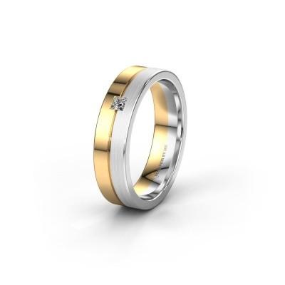 Trouwring WH0201L15ASQPM 585 goud diamant ±5x1.7 mm