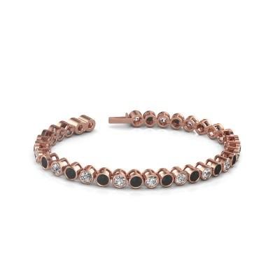 Foto van Tennisarmband Allegra 750 rosé goud zwarte diamant 9.35 crt