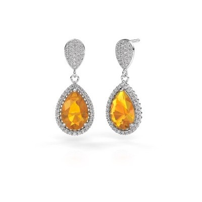 Picture of Drop earrings Cheree 2 585 white gold citrin 12x8 mm