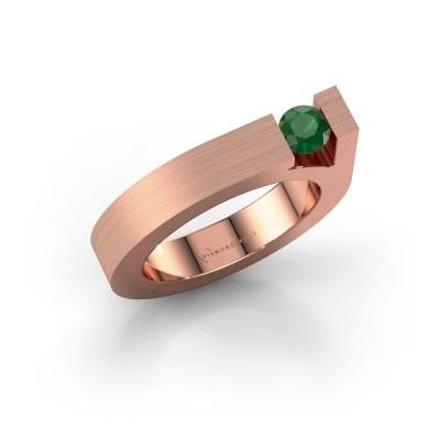 Foto van Ring Aisha 375 rosé goud smaragd 4.2 mm