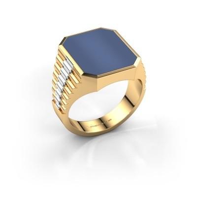 Foto van Rolex stijl ring Brent 4 585 goud blauw lagensteen 16x13 mm
