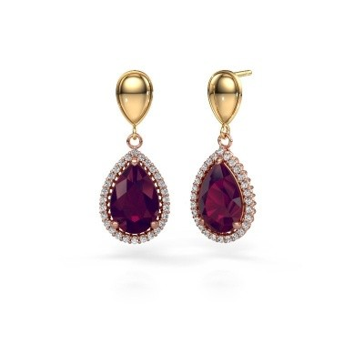 Picture of Drop earrings Cheree 1 585 rose gold rhodolite 12x8 mm