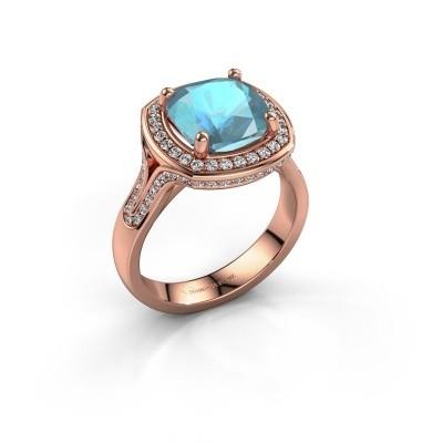 Foto van Ring Lili 375 rosé goud blauw topaas 9 mm