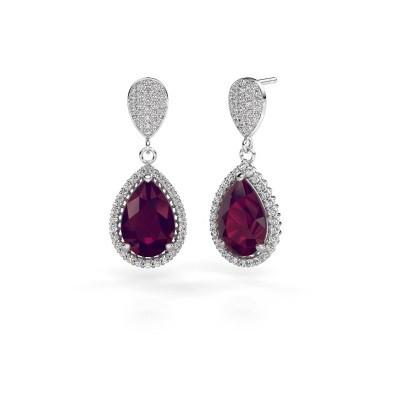 Picture of Drop earrings Cheree 2 950 platinum rhodolite 12x8 mm