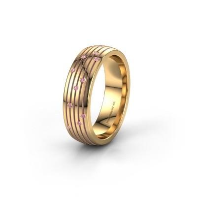 Trouwring WH0150L26A 585 goud roze saffier ±6x1.7 mm
