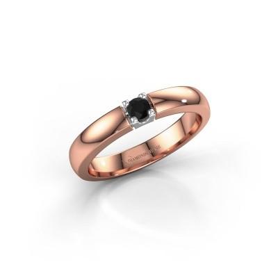 Foto van Verlovingsring Rianne 1 585 rosé goud zwarte diamant 0.12 crt