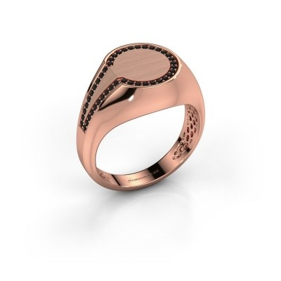 Foto van Heren ring Gijs 375 rosé goud zwarte diamant 0.264 crt