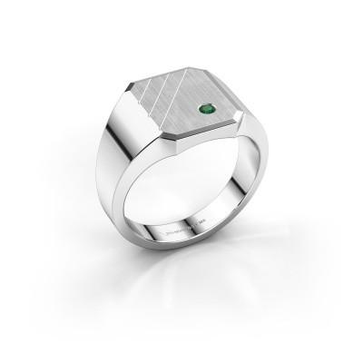 Foto van Zegelring Patrick 2 925 zilver smaragd 2 mm