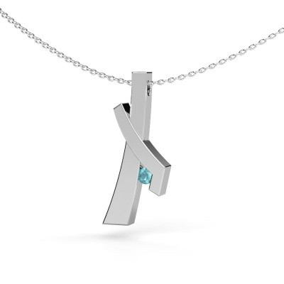 Picture of Pendant Alyssa 585 white gold blue topaz 2.7 mm
