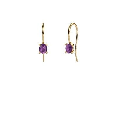 Picture of Drop earrings Cleo 585 gold amethyst 6x4 mm