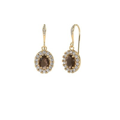 Picture of Drop earrings Jorinda 2 585 gold smokey quartz 7x5 mm