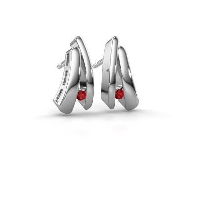 Picture of Earrings Liesel 925 silver ruby 2 mm