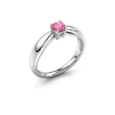 Foto van Verlovingsring Nichole 585 witgoud roze saffier 4.2 mm