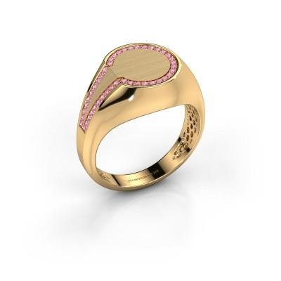 Foto van Heren ring Gijs 585 goud roze saffier 1 mm