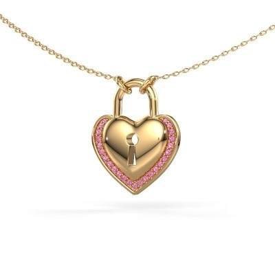 Picture of Necklace Heartlock 585 gold pink sapphire 1 mm