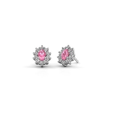 Picture of Earrings Leesa 585 white gold pink sapphire 6x4 mm