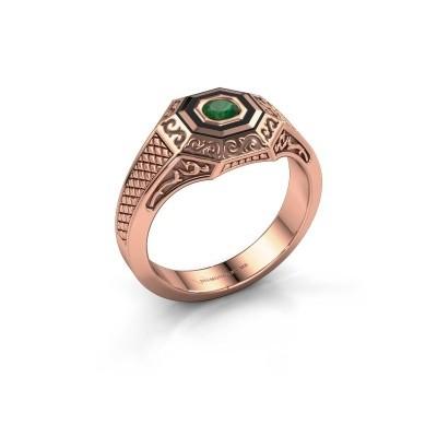 Foto van Heren ring Dion 375 rosé goud smaragd 4 mm