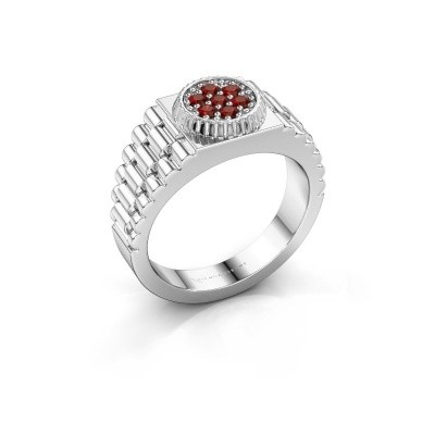 Foto van Rolex stijl ring Nout 925 zilver granaat 2 mm