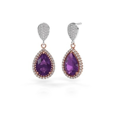 Picture of Drop earrings Cheree 2 585 rose gold amethyst 12x8 mm