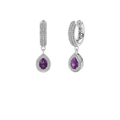 Picture of Drop earrings Barbar 2 375 white gold amethyst 6x4 mm
