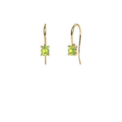 Picture of Drop earrings Cleo 585 gold peridot 6x4 mm