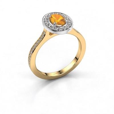 Foto van Ring Madelon 2 585 goud citrien 7x5 mm