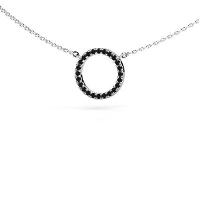 Foto van Hanger Circle 585 witgoud zwarte diamant 0.216 crt