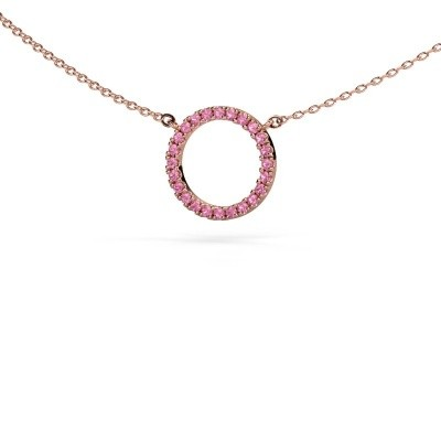 Picture of Pendant Circle 375 rose gold pink sapphire 1.2 mm