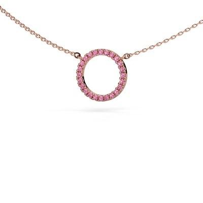 Bild von Anhänger Circle 375 Roségold Pink Saphir 1.2 mm