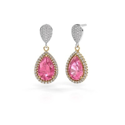 Picture of Drop earrings Cheree 2 585 gold pink sapphire 12x8 mm