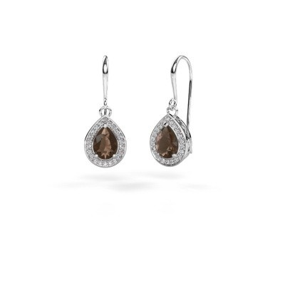 Picture of Drop earrings Beverlee 1 585 white gold smokey quartz 7x5 mm