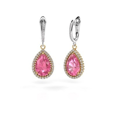 Picture of Drop earrings Hana 2 585 gold pink sapphire 12x8 mm