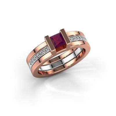 Foto van Ring Desire 585 rosé goud rhodoliet 4 mm