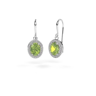 Picture of Drop earrings Latesha 375 white gold peridot 8x6 mm