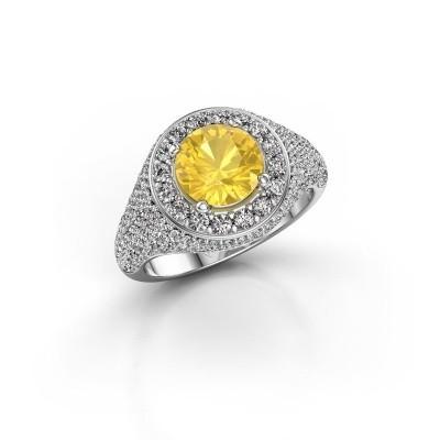 Foto van Ring Dayle 925 zilver gele saffier 7 mm