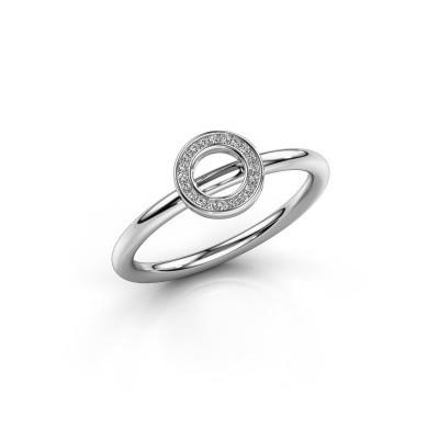 Foto van Ring Shape round small 750 witgoud zirkonia 0.8 mm