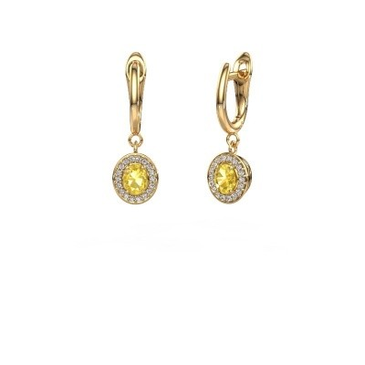 Picture of Drop earrings Nakita 750 gold yellow sapphire 5x4 mm