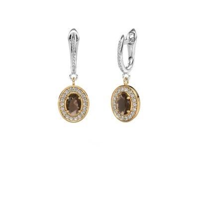 Picture of Drop earrings Layne 2 585 gold smokey quartz 7x5 mm