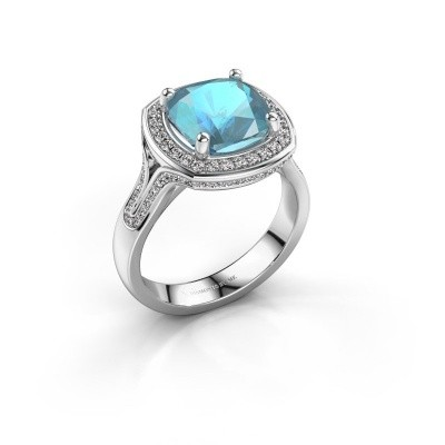 Picture of Ring Lili 585 white gold blue topaz 9 mm