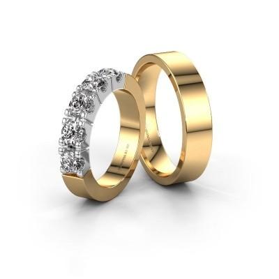 Foto van Huwelijksringen set WHR1615LM15AP ±5x2 mm 14 karaat witgoud diamant 0.10 crt