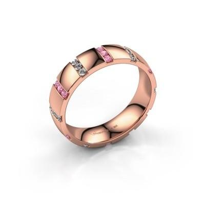 Huwelijksring Juul 585 rosé goud roze saffier ±5x1.8 mm