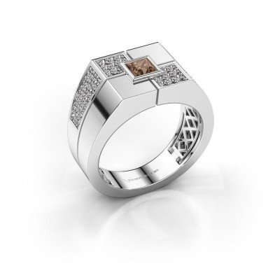 Foto van Heren ring Rogier 925 zilver bruine diamant 0.922 crt