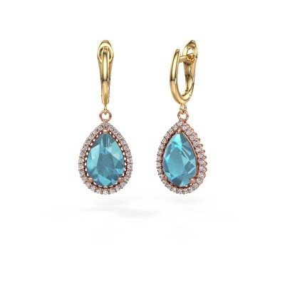 Picture of Drop earrings Hana 1 585 rose gold blue topaz 12x8 mm