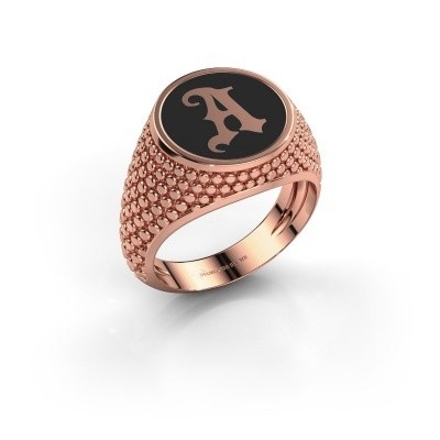 Foto van Monogram ring Zachary 585 rosé goud zwarte emaille