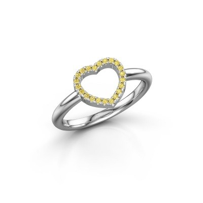 Picture of Ring Heart 7 585 white gold yellow sapphire 1 mm