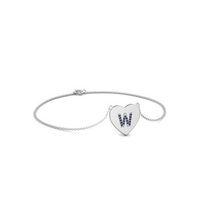 Foto van Armband Initial Heart 750 witgoud saffier 1 mm