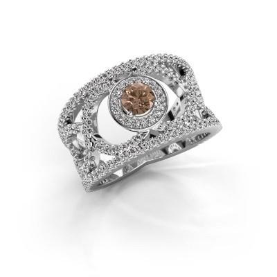 Foto van Ring Regina 950 platina bruine diamant 1.25 crt