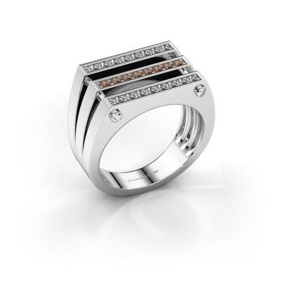 Foto van Heren ring Jauke 950 platina bruine diamant 0.48 crt